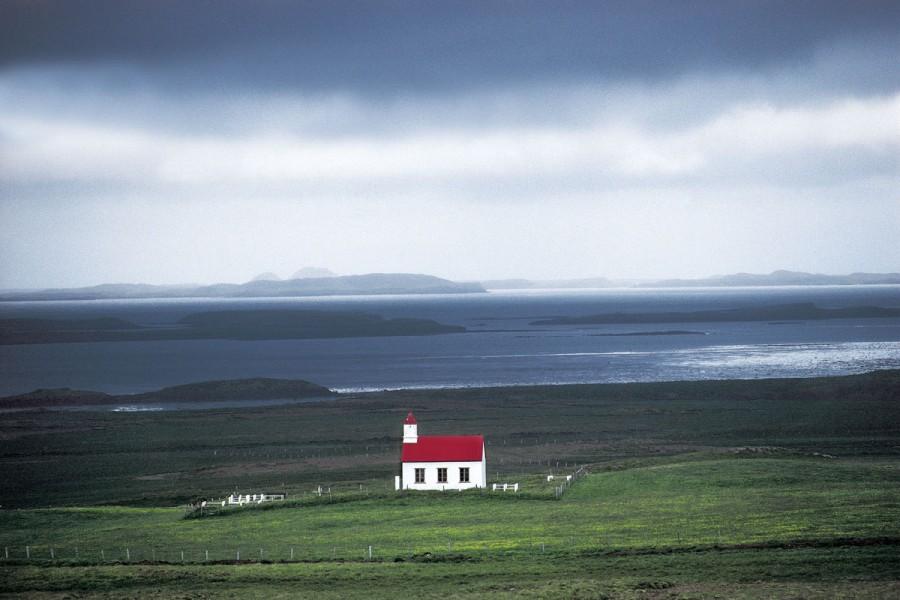 Iceland, Snaefellsnes peninsula, Narfeyri church