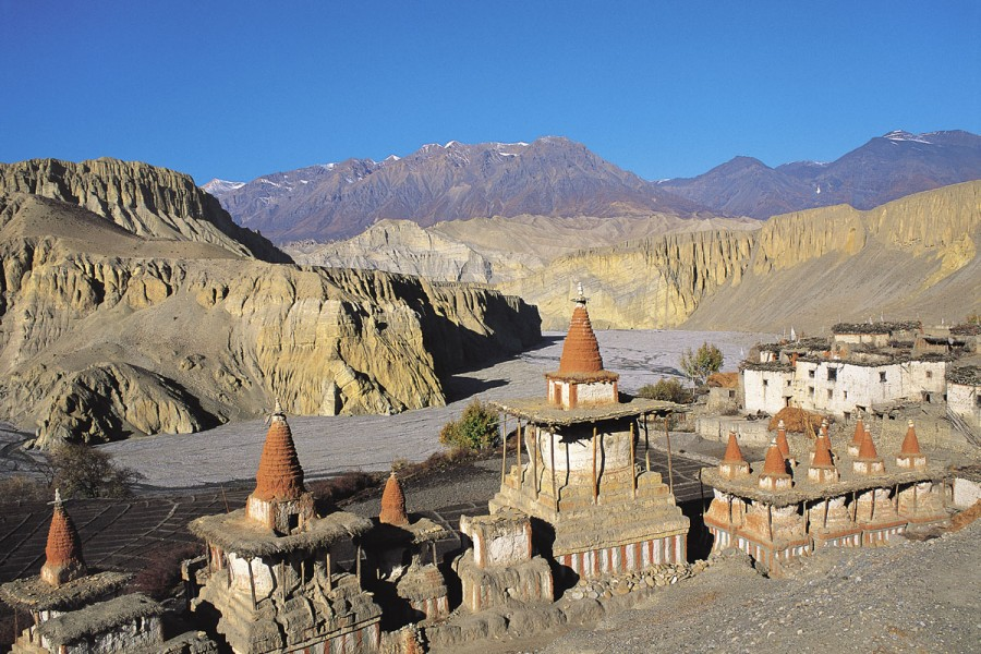 ROW OF CHORTENS, TANGYE VILLAGE, MUSTANG, NEPAL