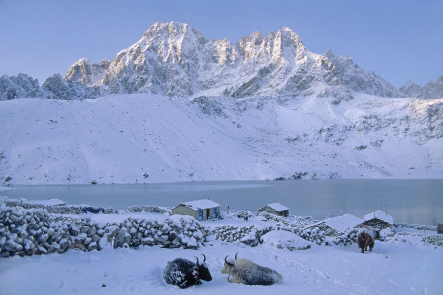 SUNRISE ON GOKYO LAKE,  KHUMBU, NEPAL