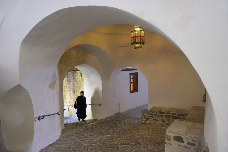 Greece, Chalkidiki, Mount Athos peninsula, listed as World Heritage, Simonos Petra monastery, Mediaeval vaulted passageway